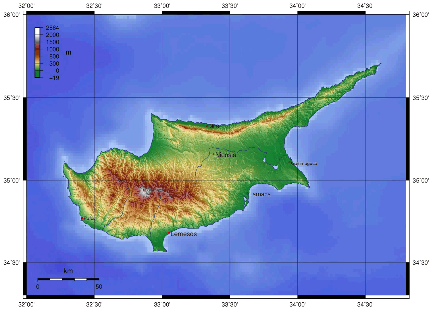 Cyprus Topography large map