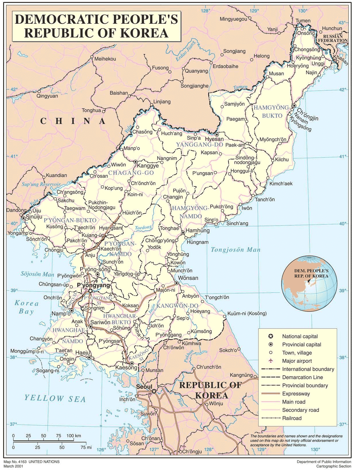 Democratic Peoples Republic of Korea large map