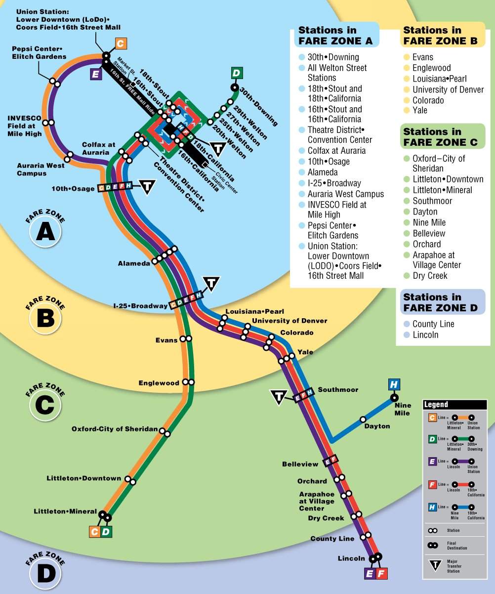 denver light rail map • mapsofnet - click on the denver light rail map