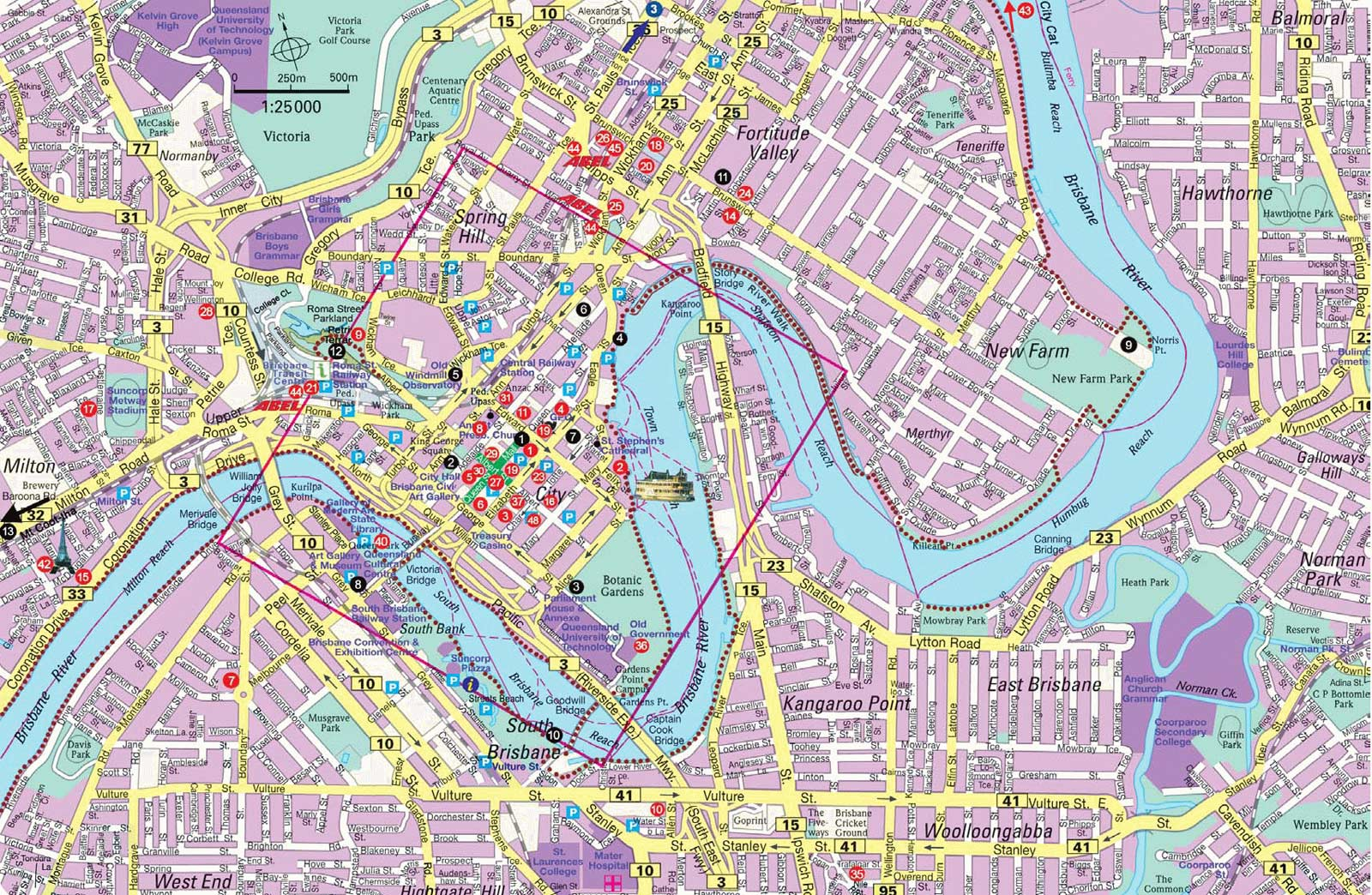 Detailed City Map of Brisbane large map