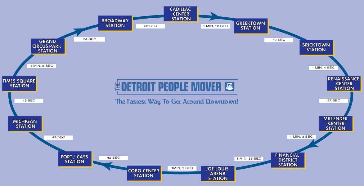 Detroit People Mover Timing Map  Mapsof