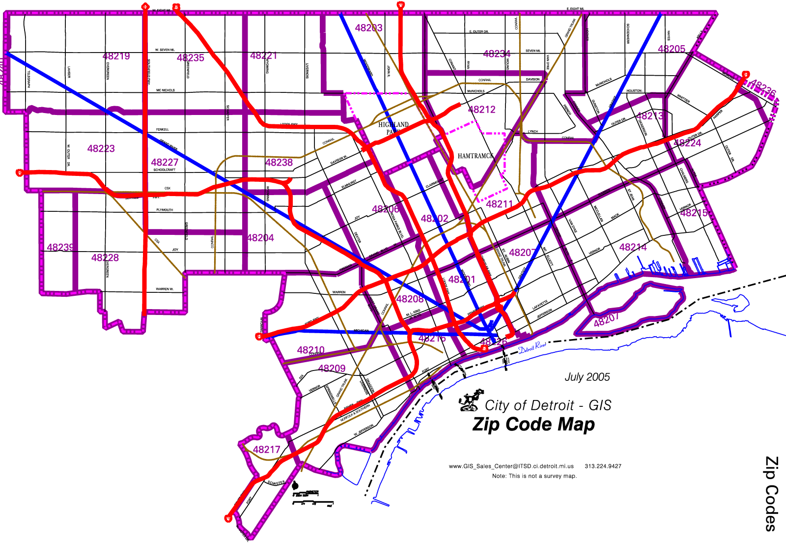 Detroit Zip Code Map Mapsof Net