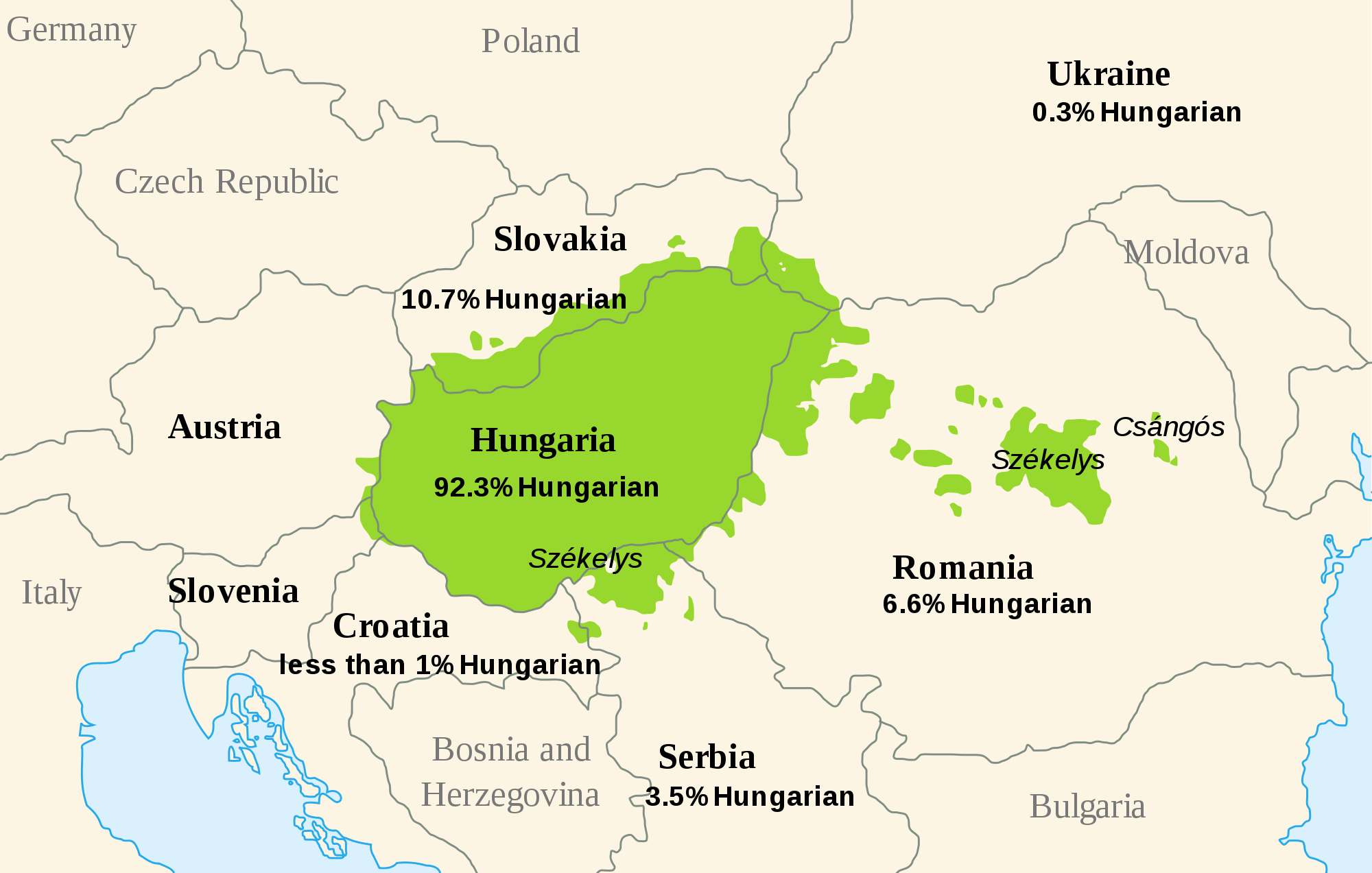 Picture of: Dist Of Hungarian Language Europe Mapsof Net
