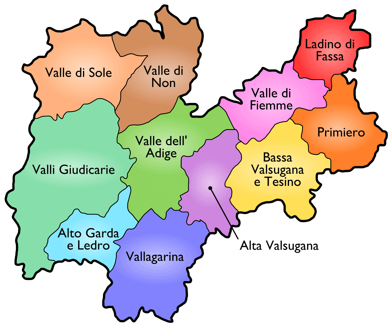 Districts Map of Trento large map