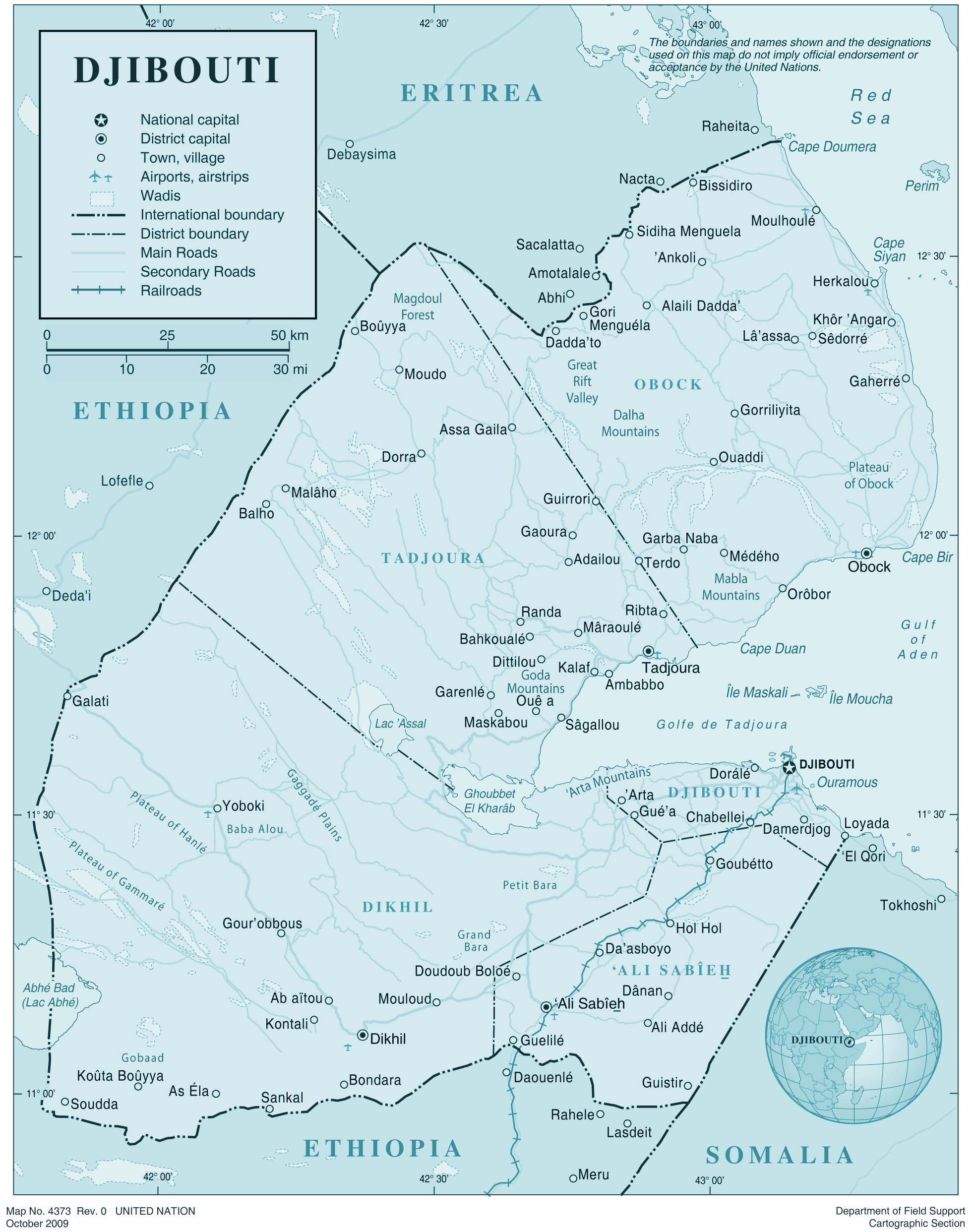 Djibouti large map