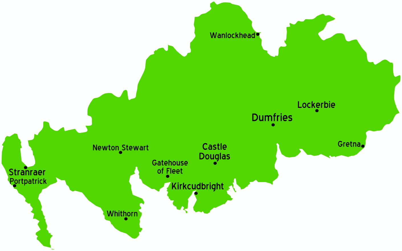 Dumfries And Galloway Scotland Map large map