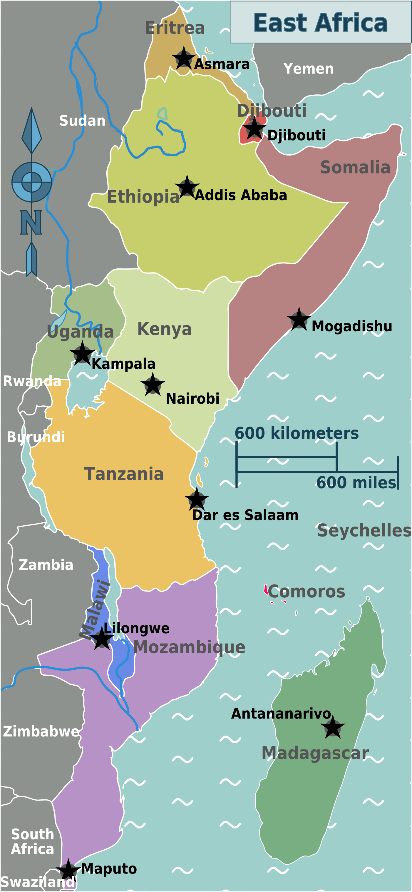 East Africa Regions Map • Mapsof.net