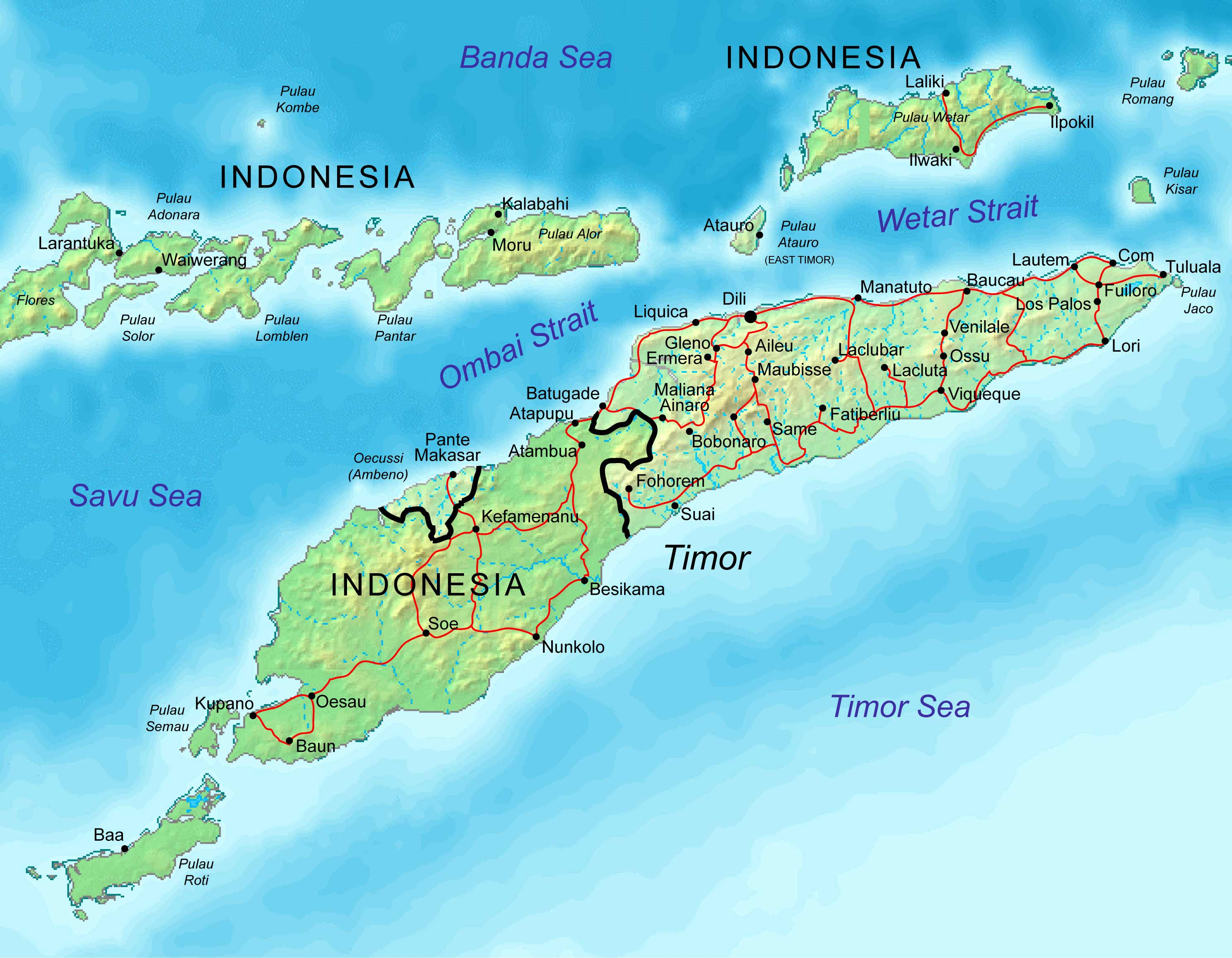 East Timor Map Mapsof Net