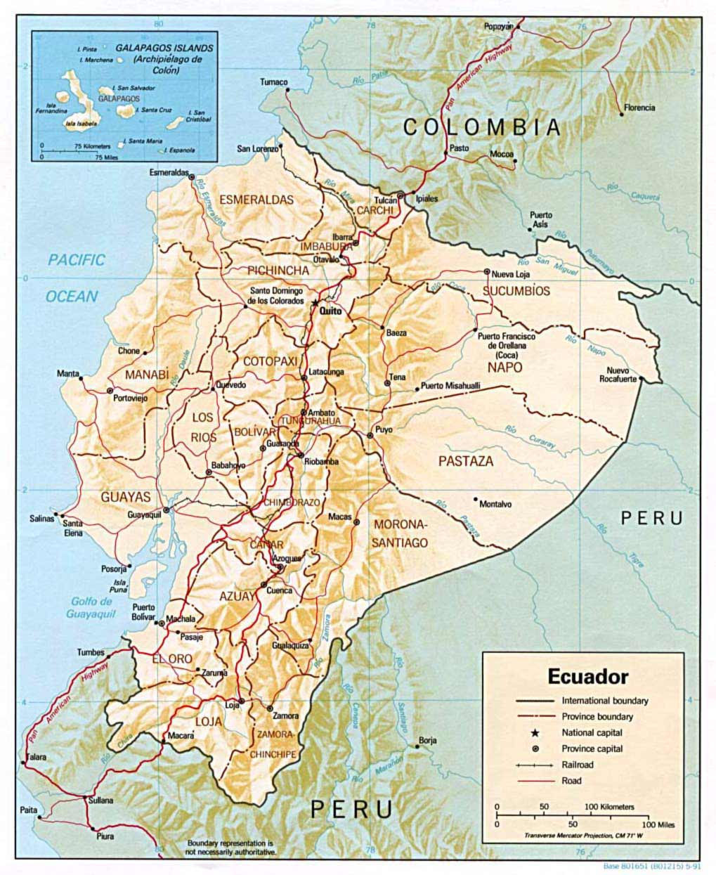 Ecuador Shaded Relief Map large map