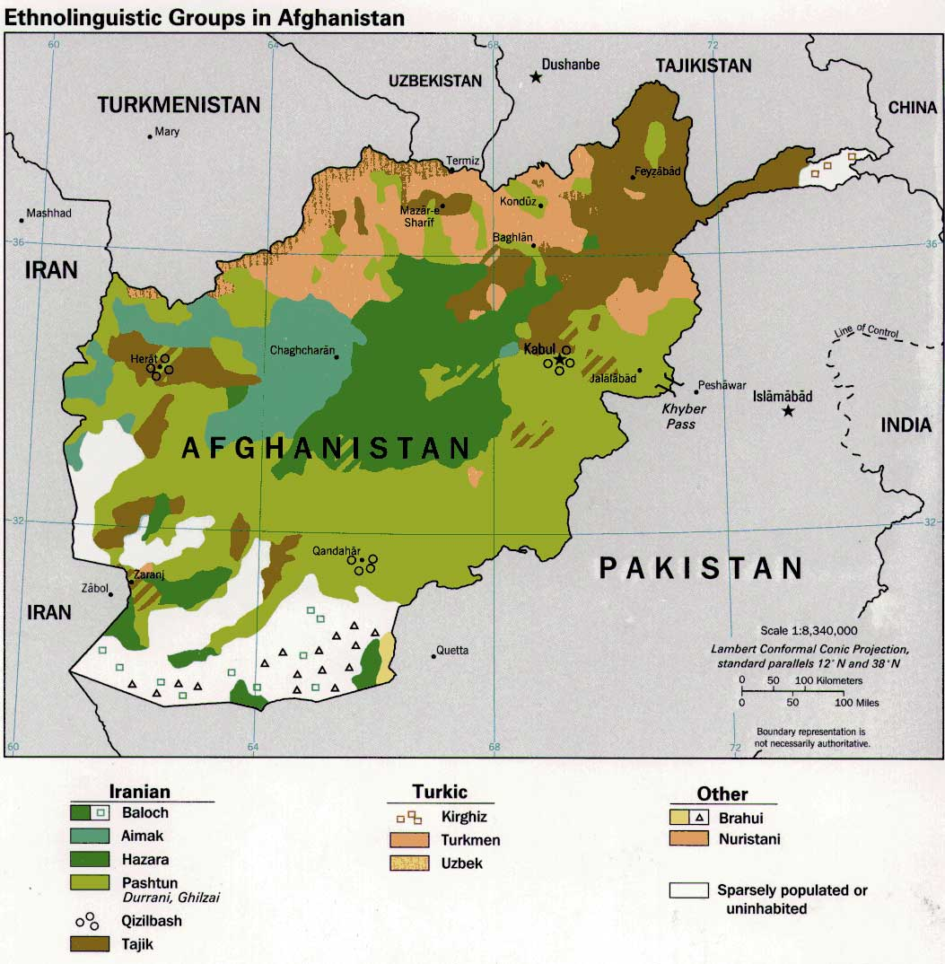 Ethnolinguistic Groups In Afghanistan large map