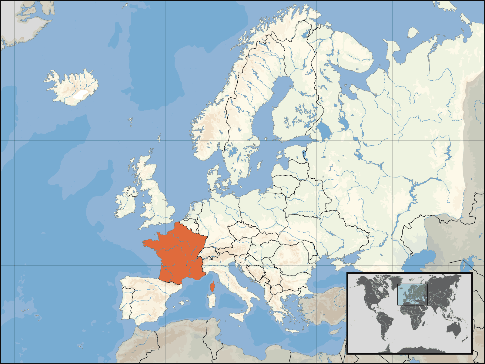Europe Location of France Mapsofnet
