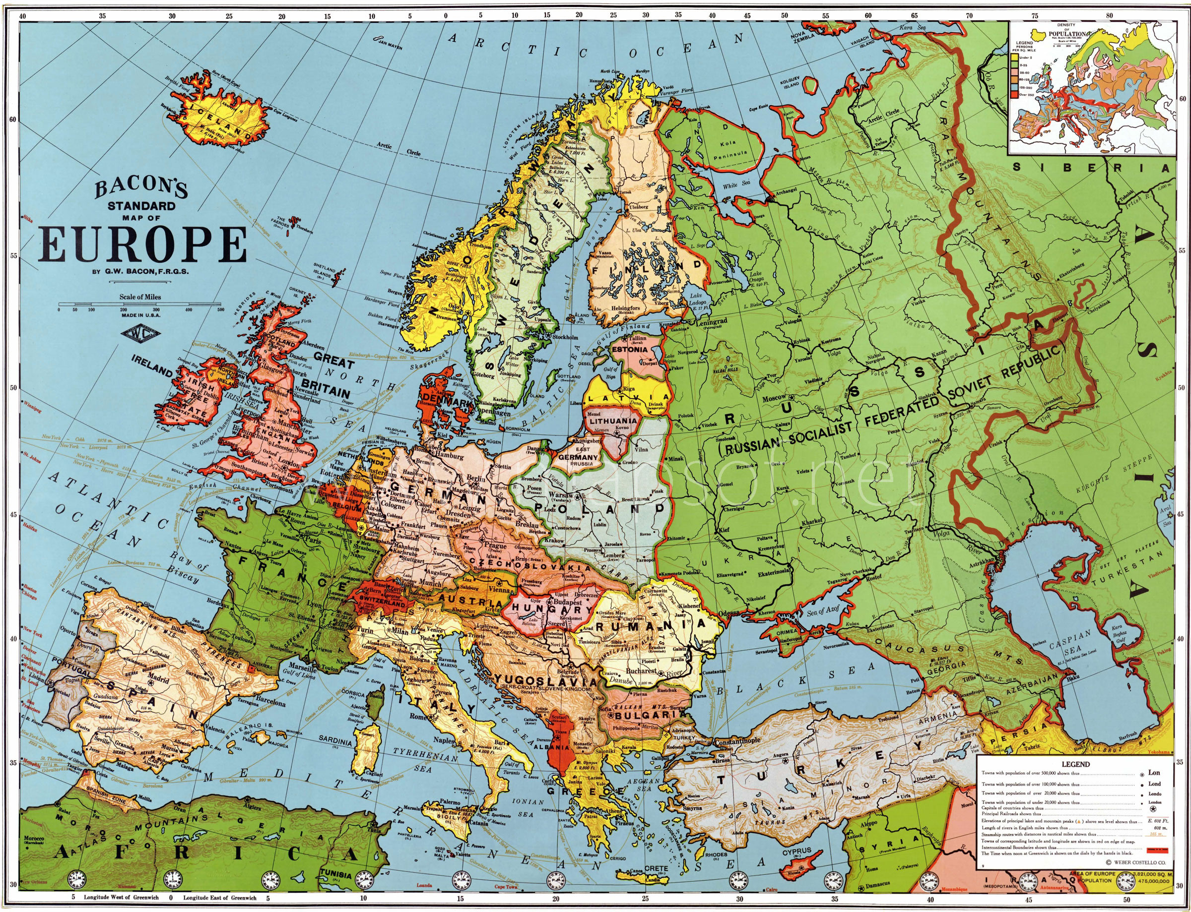 Europe Old Map (1923) large map