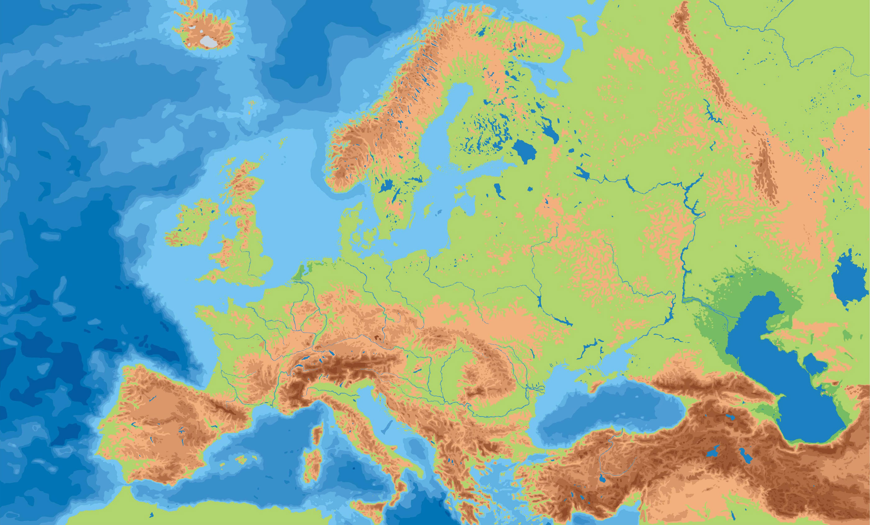 Europe Physical Outline Map Mapsof Net