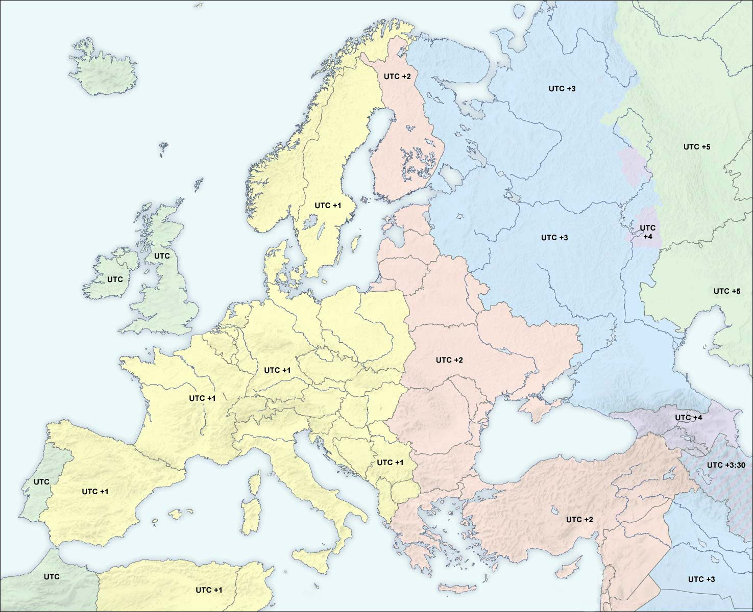 Europe Time Map large map