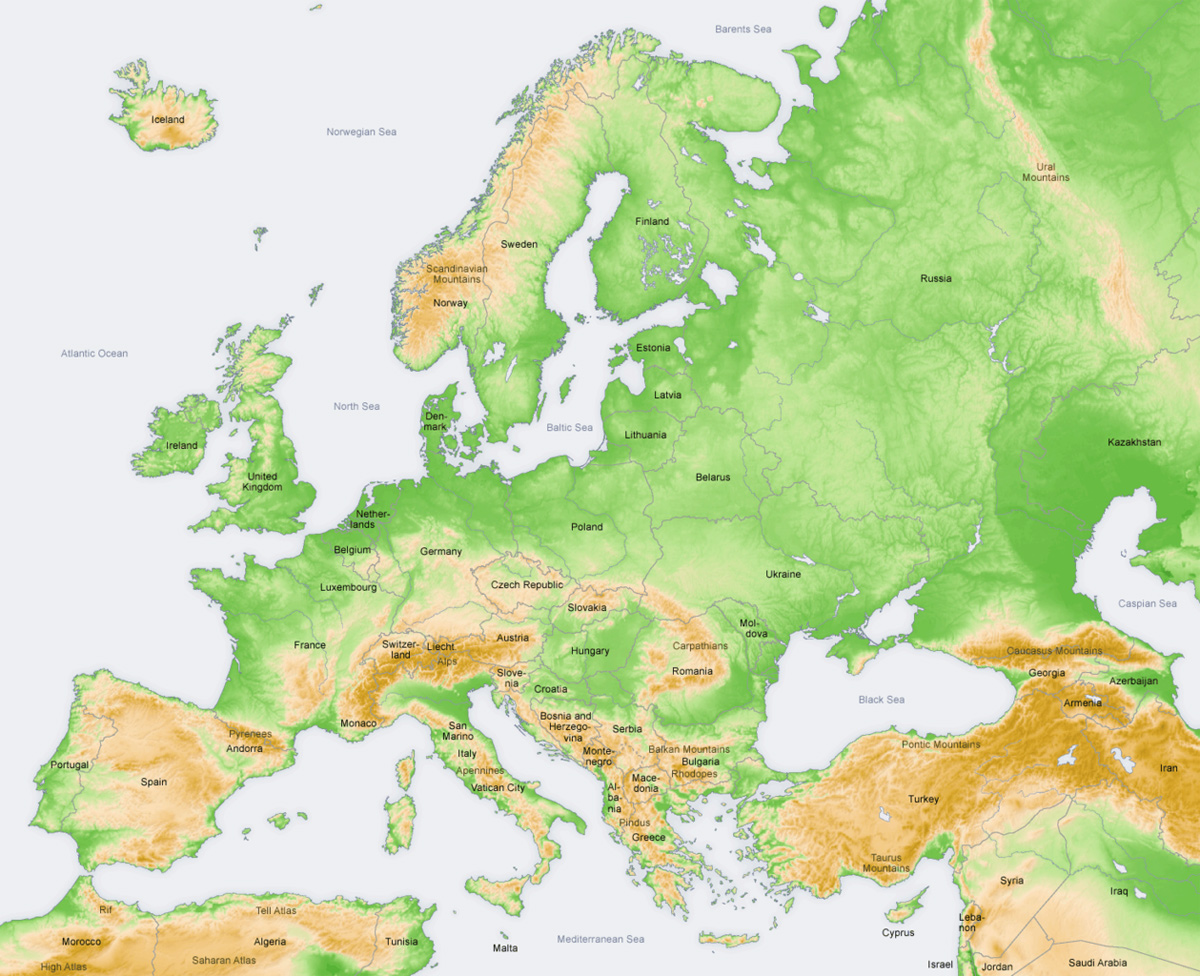 Europe Topography Map large map