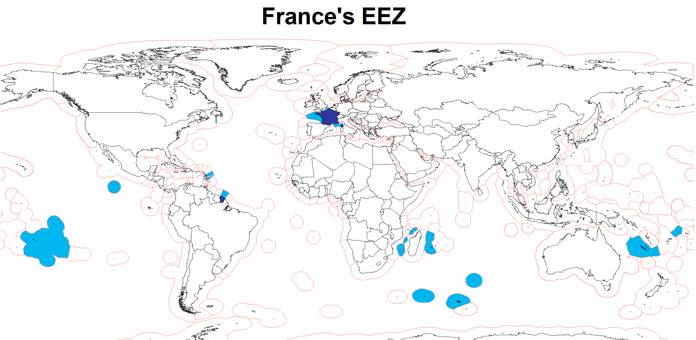 Map Of France Zones.Exclusive Economic Zone Of France Mapsof Net