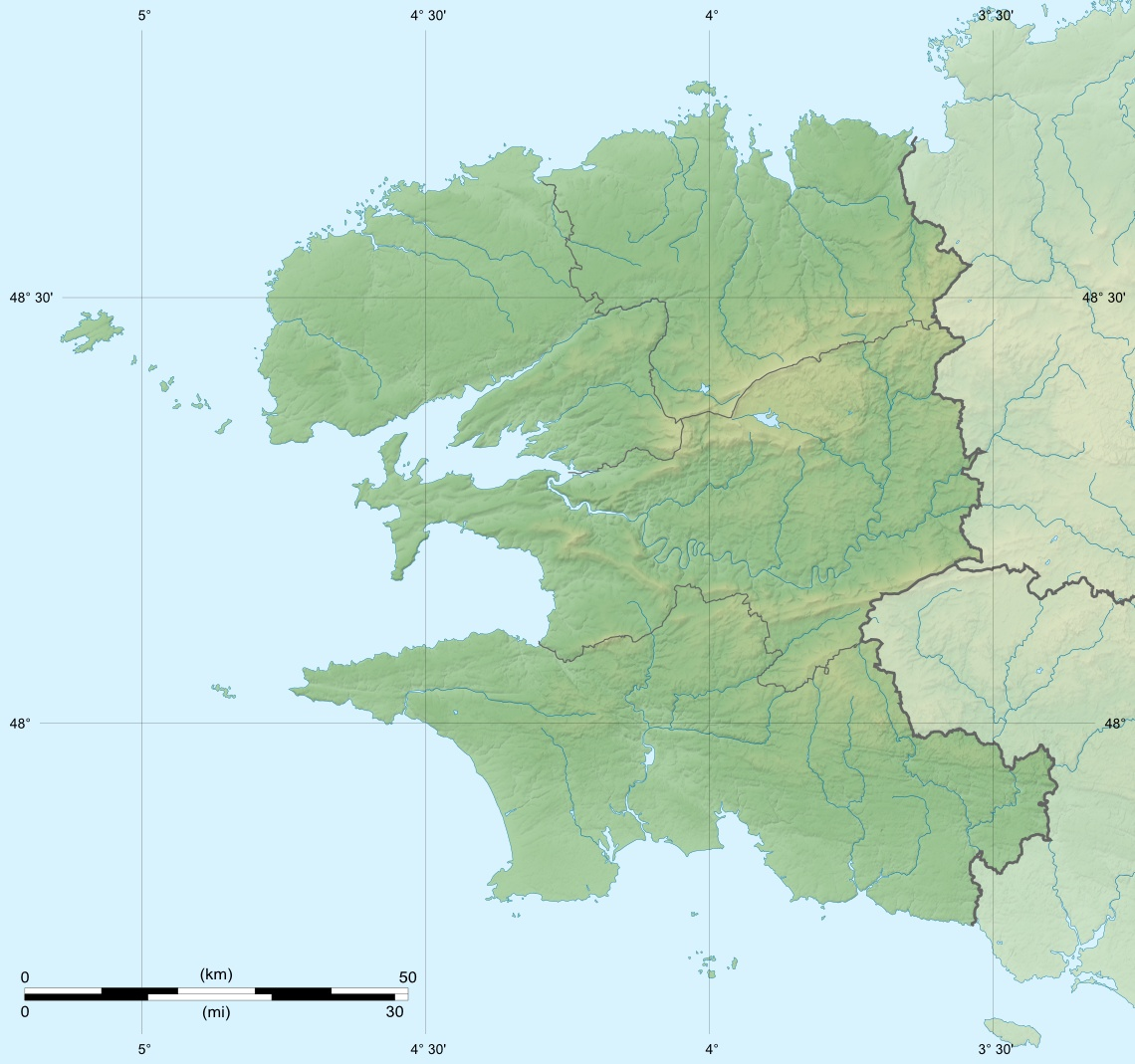 Finistere Department Relief Location Map large map