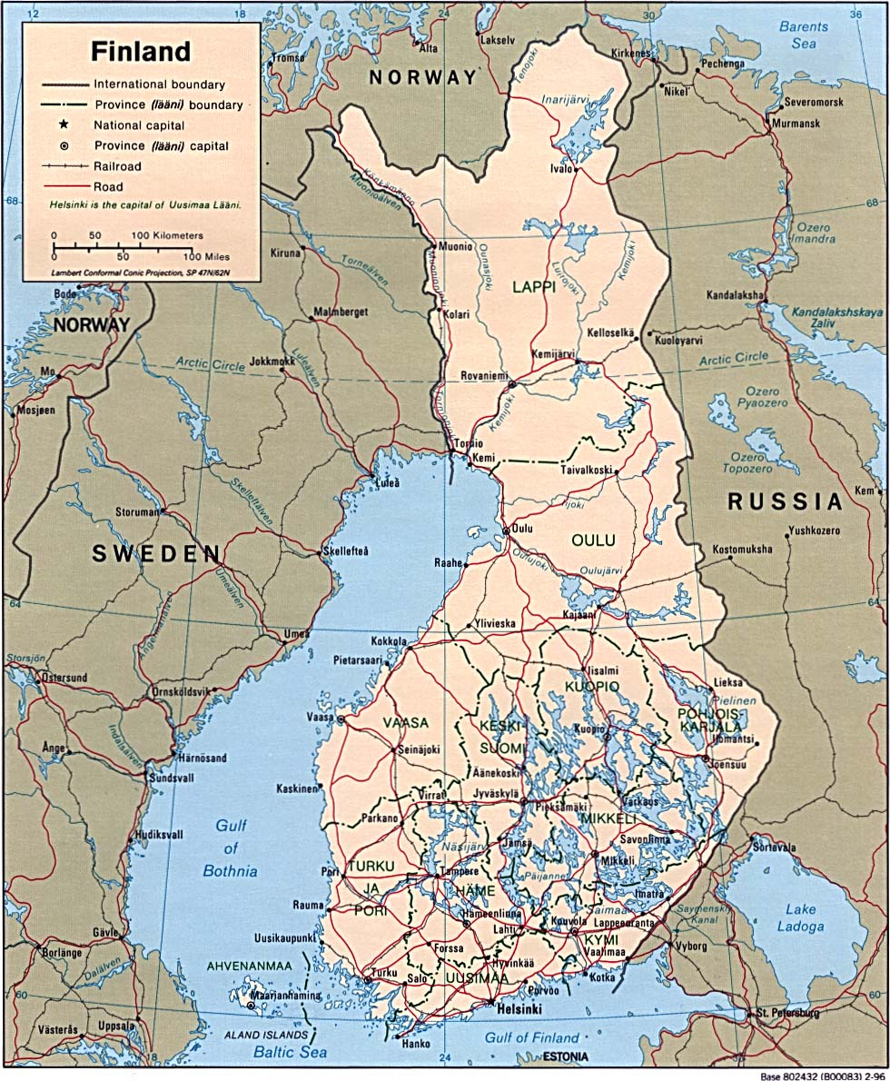 Finland Political Map large map