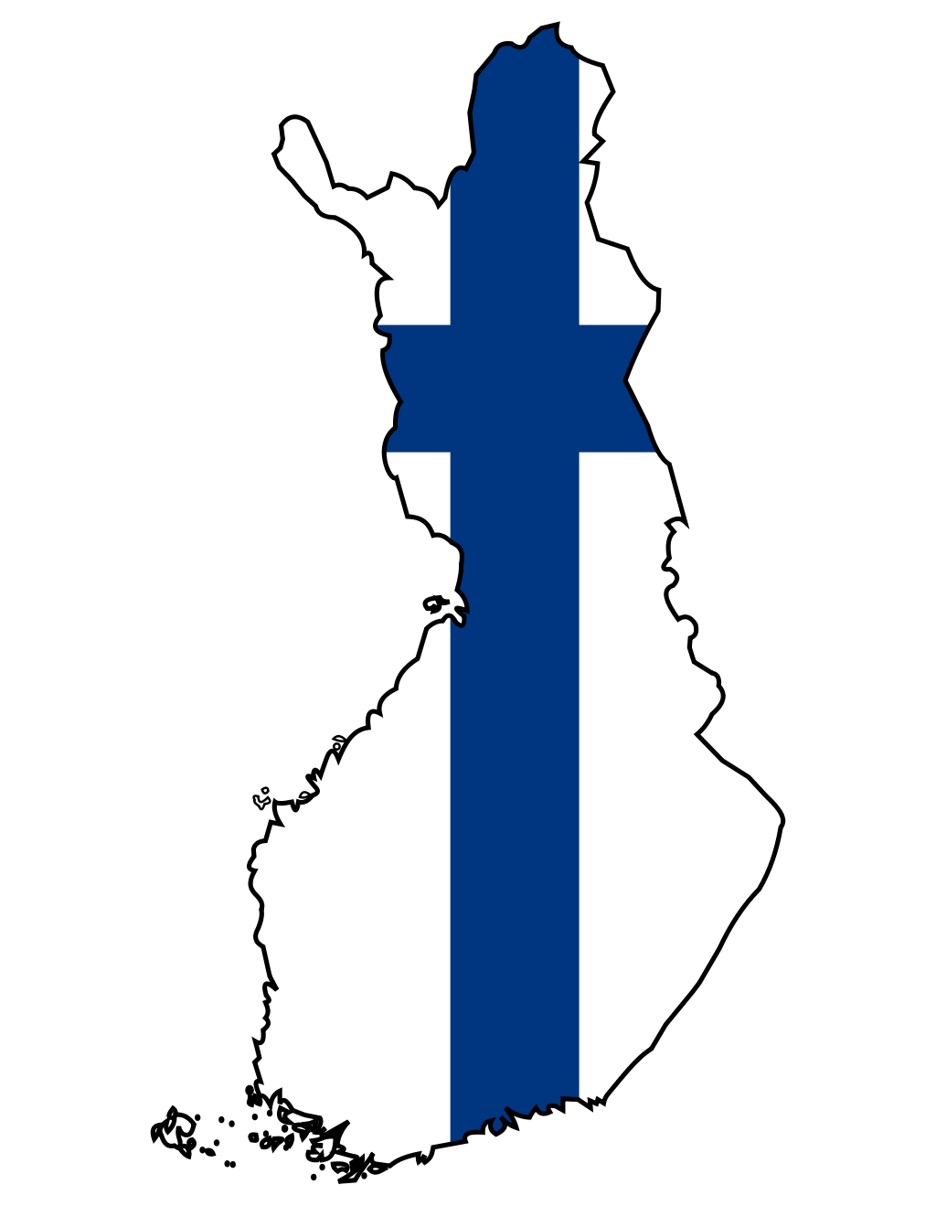 Finland Flag Map large map