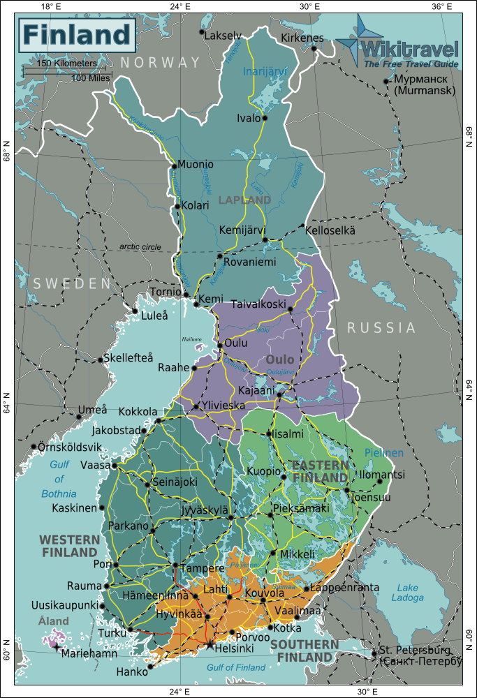 Finland Regions Map large map