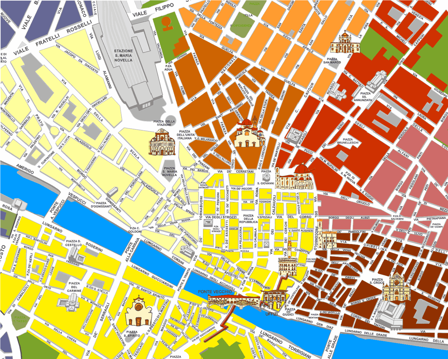 Florence City And City Map large map