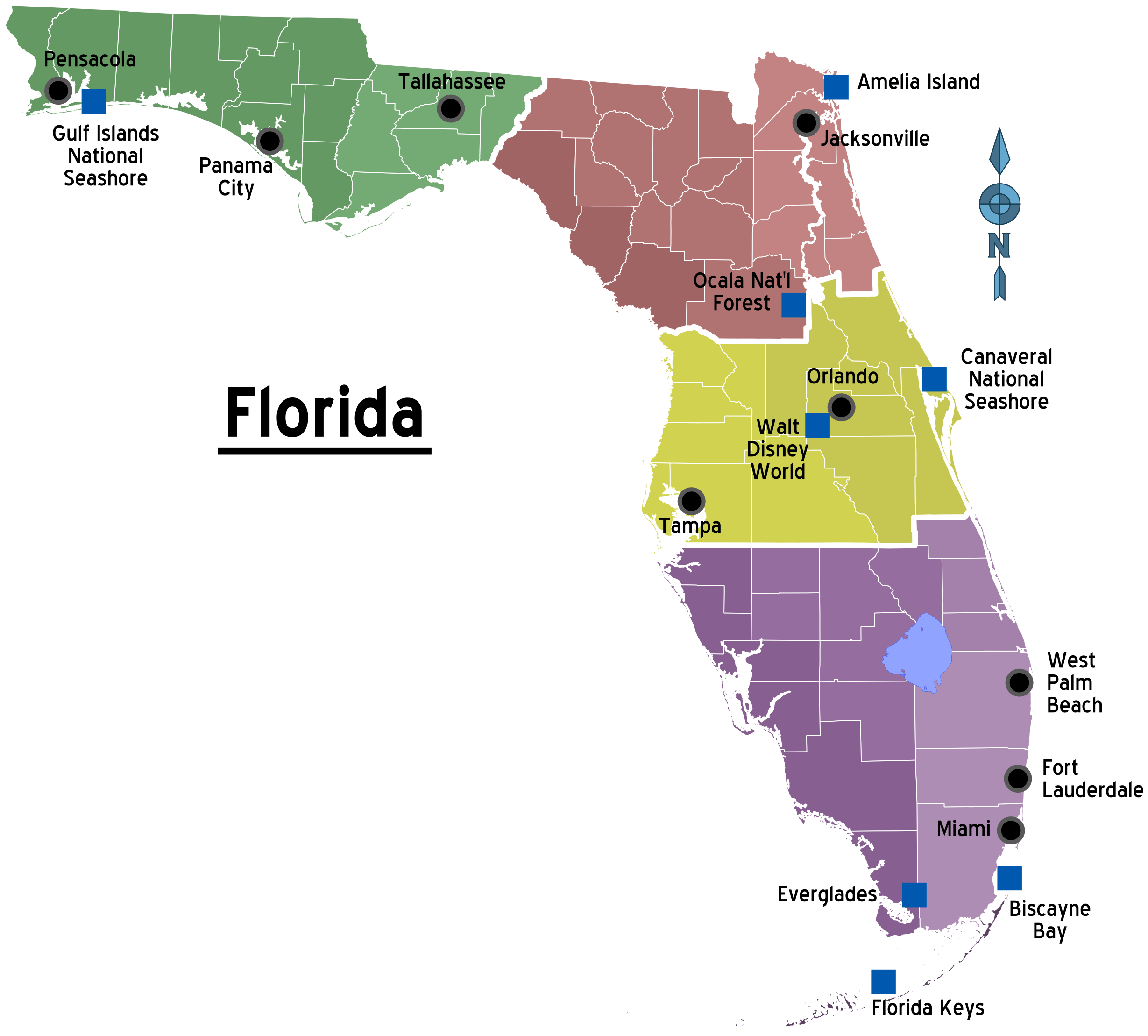Florida Regions Map With Cities Mapsofnet - Fl map with counties and cities
