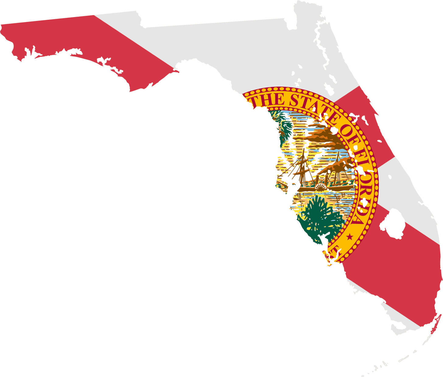 Florida Flag Map large map
