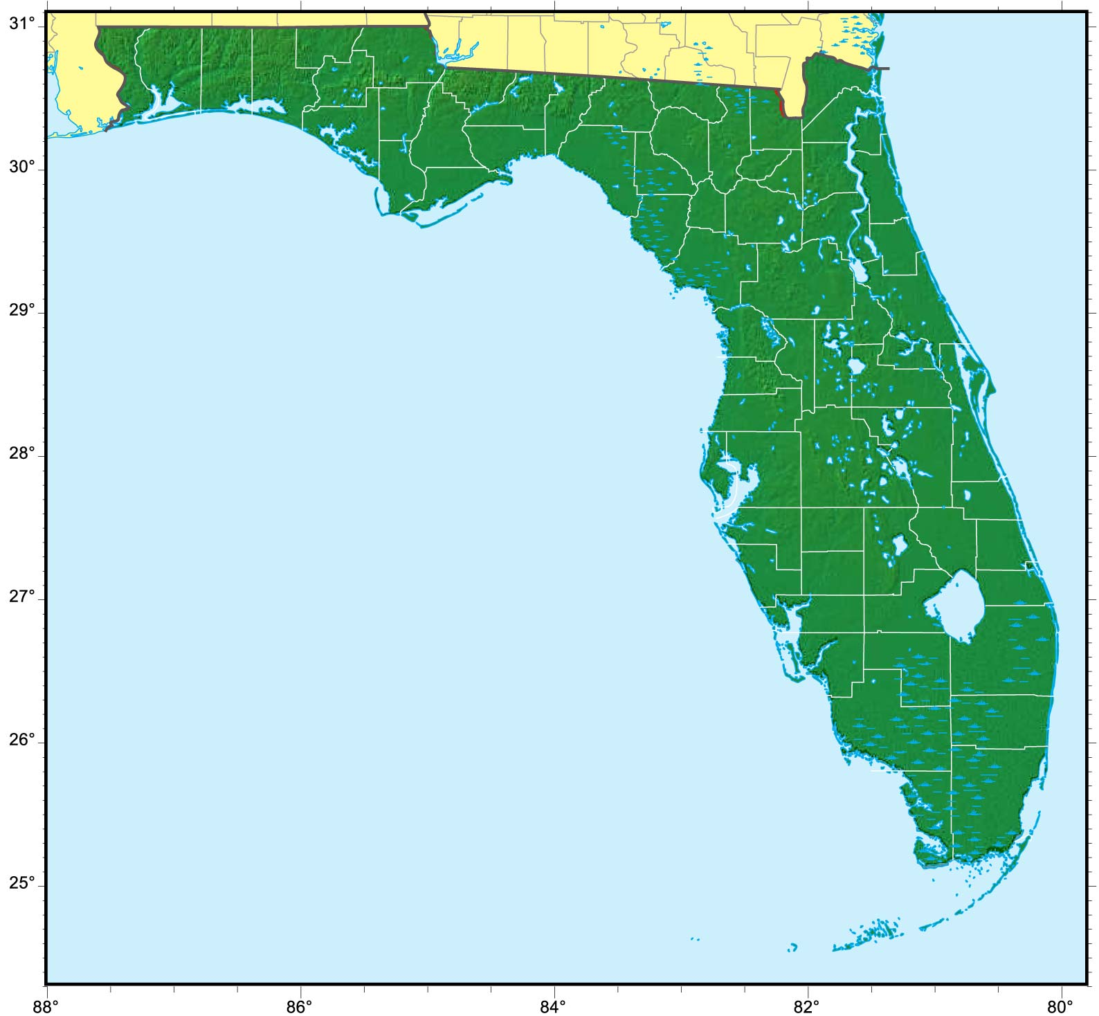 Florida Relief Map large map
