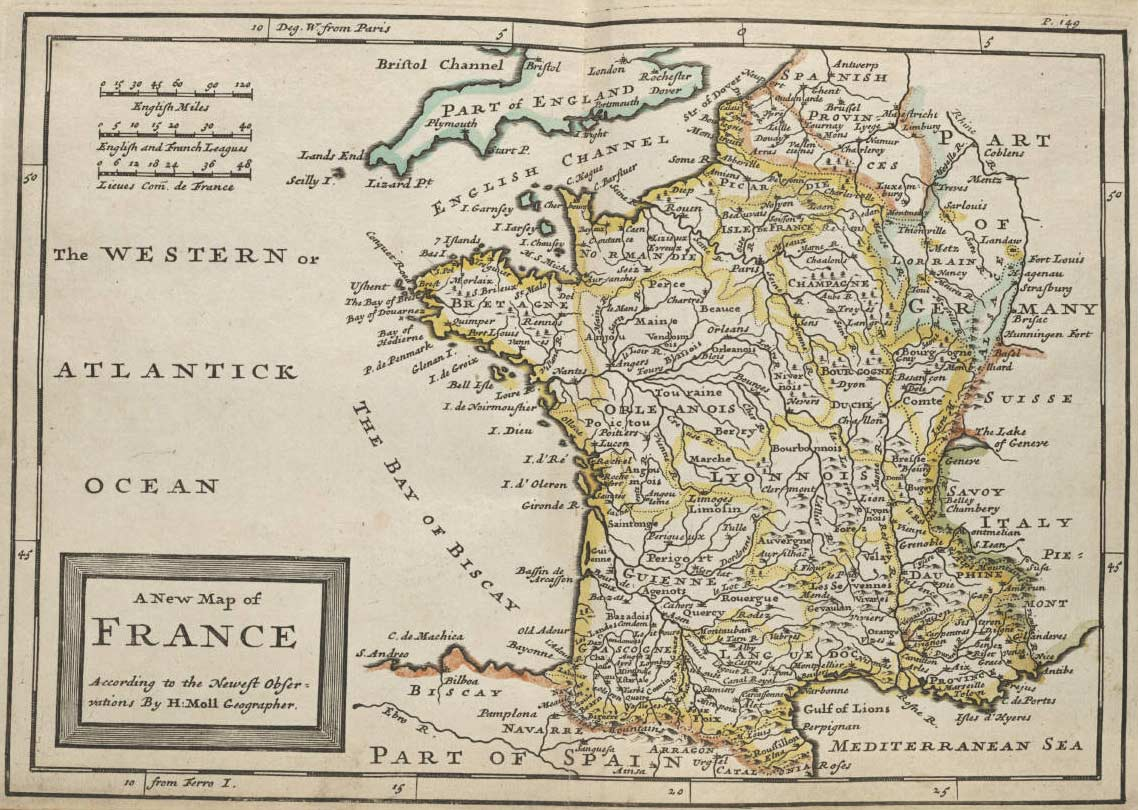 France Historical Map large map