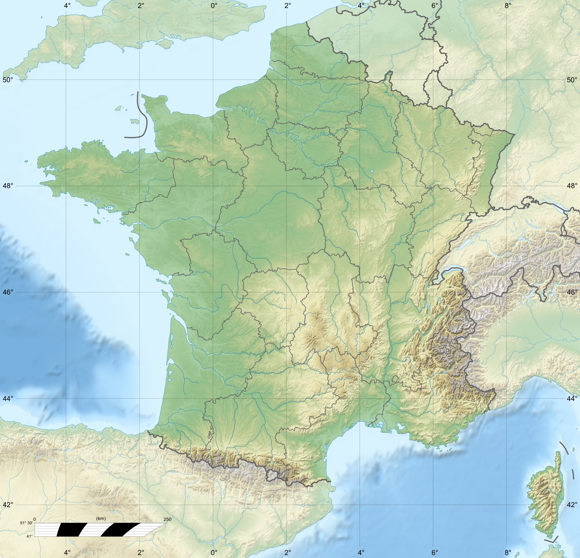 France Relief Map 1 large map