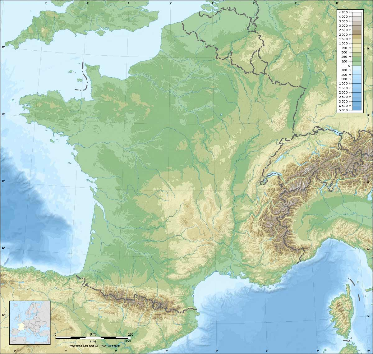 France Topographic Blank Map Mapsof Net