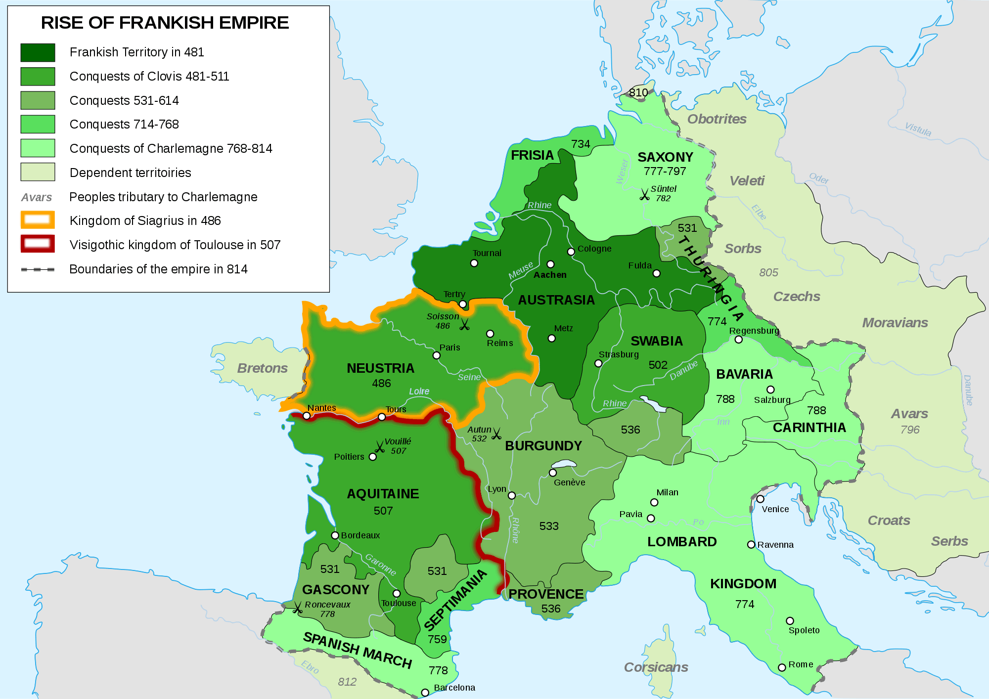 Frankish Empire 481 To 814 large map