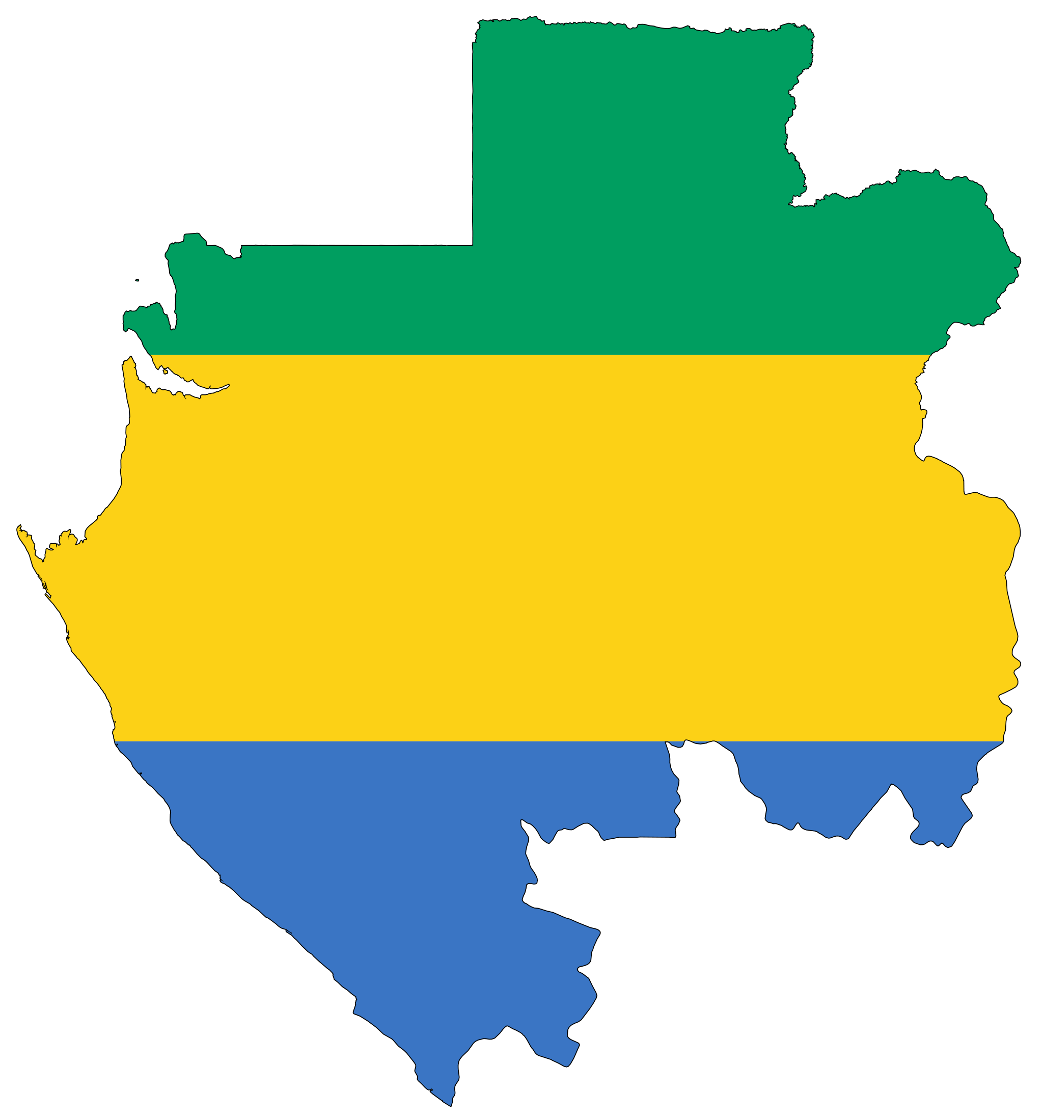 Gabon Flag Map Mapsofnet - Gabon map