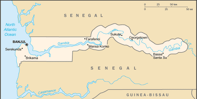 Gambia large map
