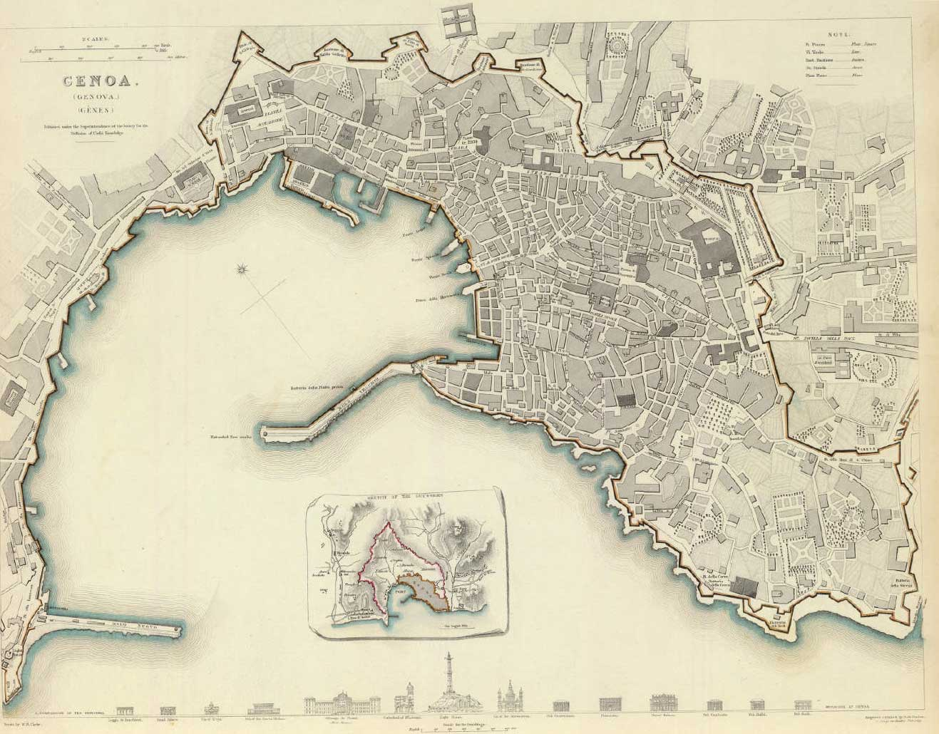 Genoa Historical Map large map