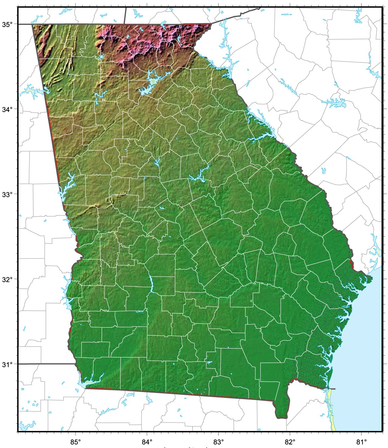 Georgia Relief Map large map