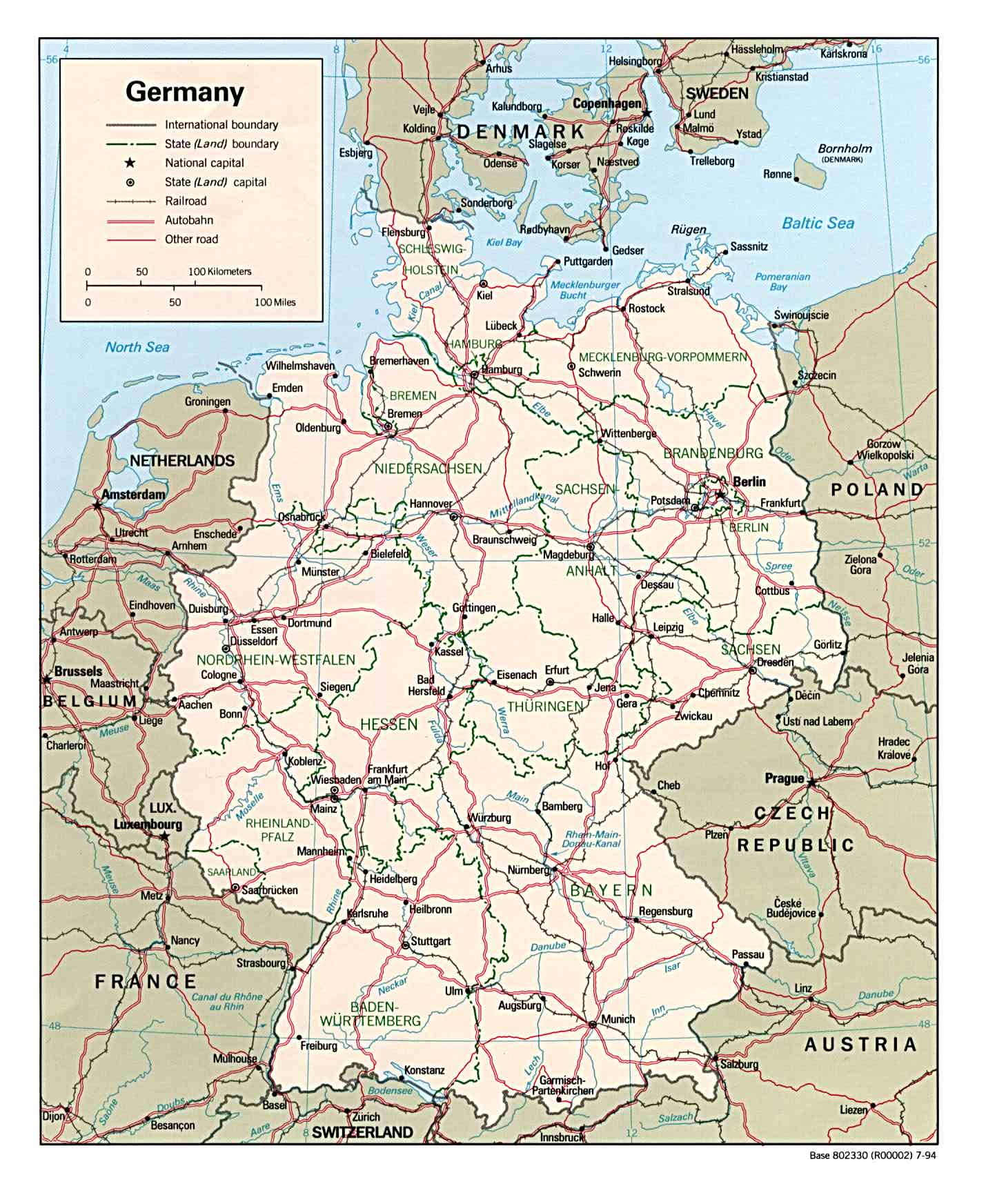 Map Of East West Germany.Germany Political Map 1994 Mapsof Net