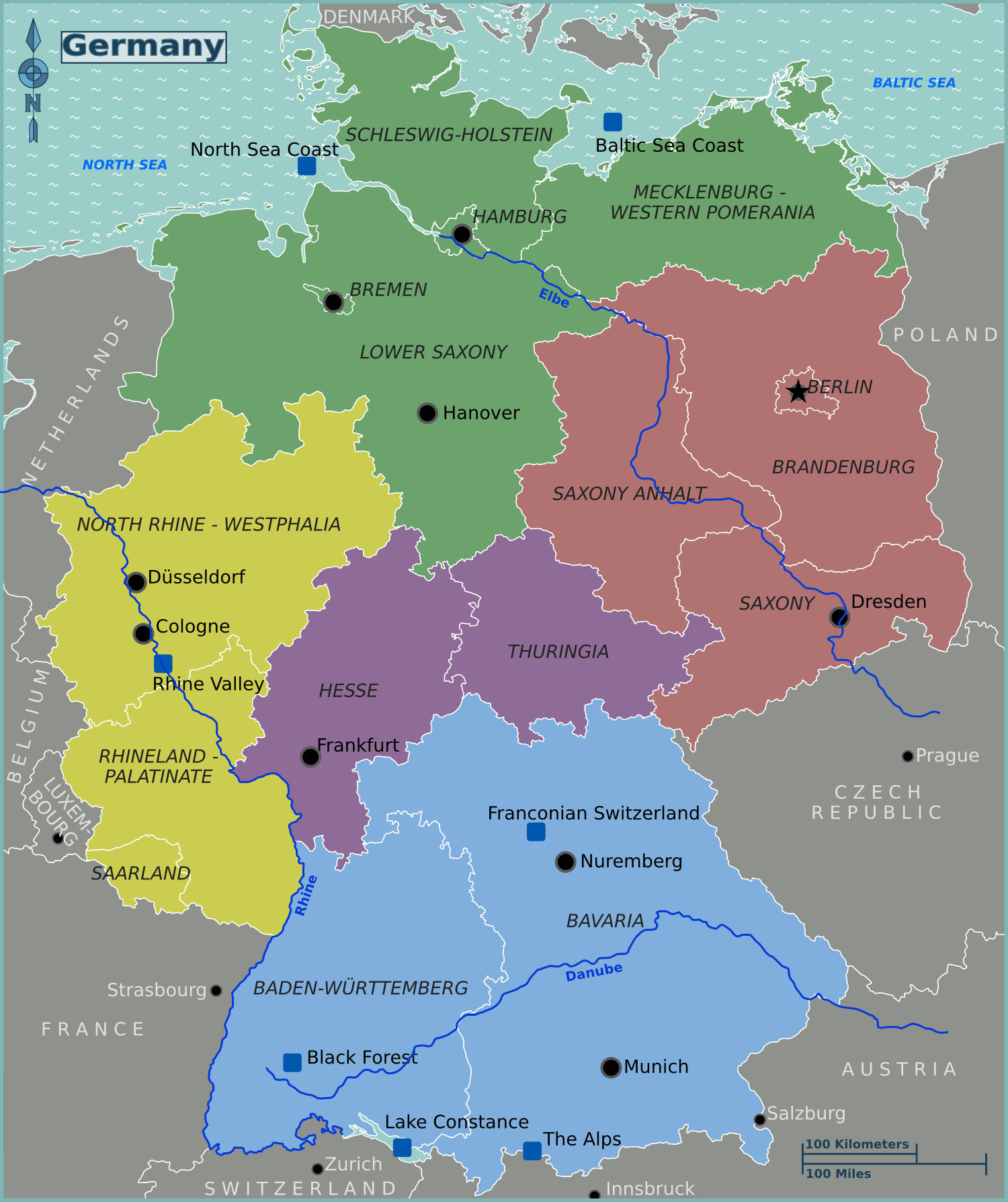 Map Of Germany And Surrounding Countries.Germany Regions Map Mapsof Net