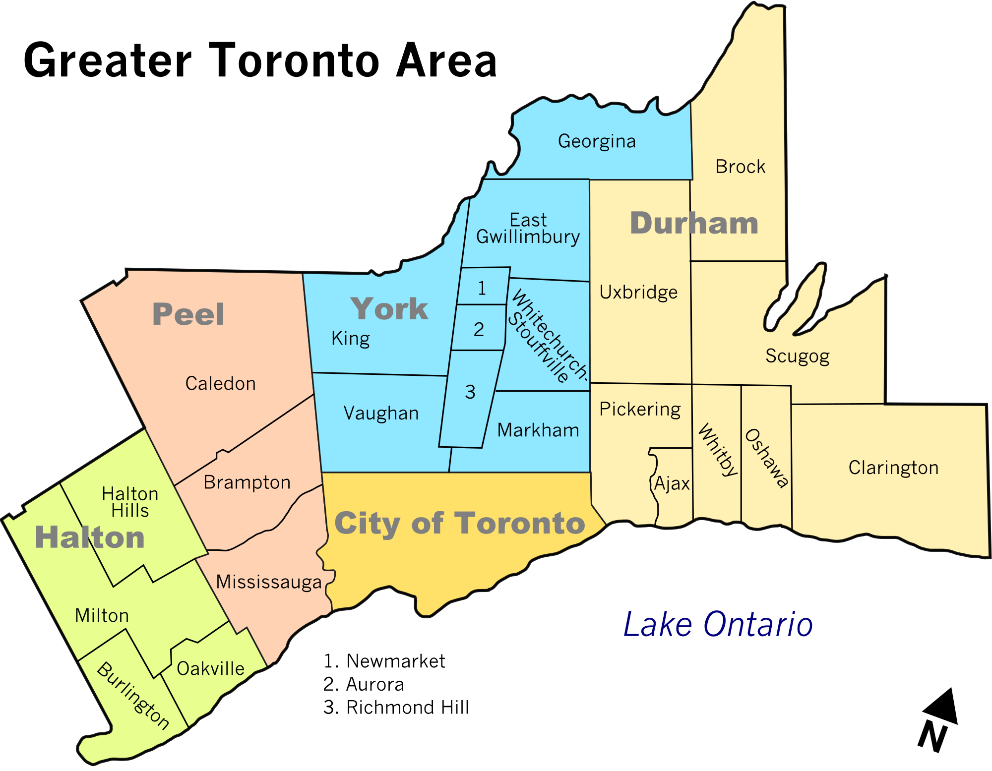 Greater Toronto Area Map large map