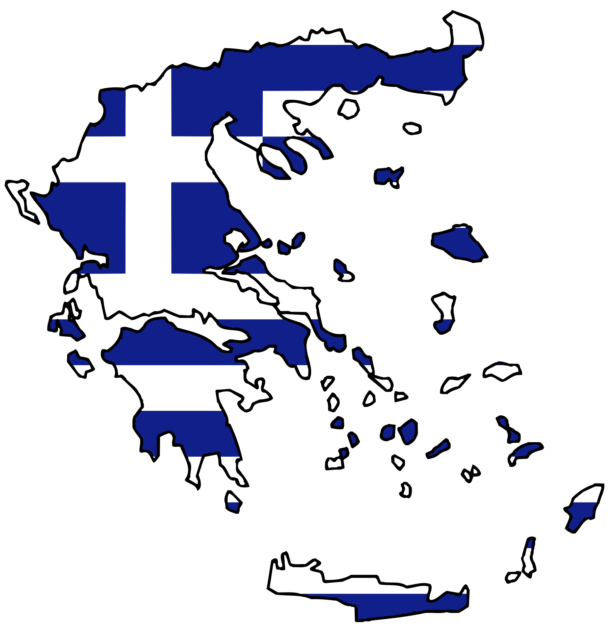 Greece Flag Map large map