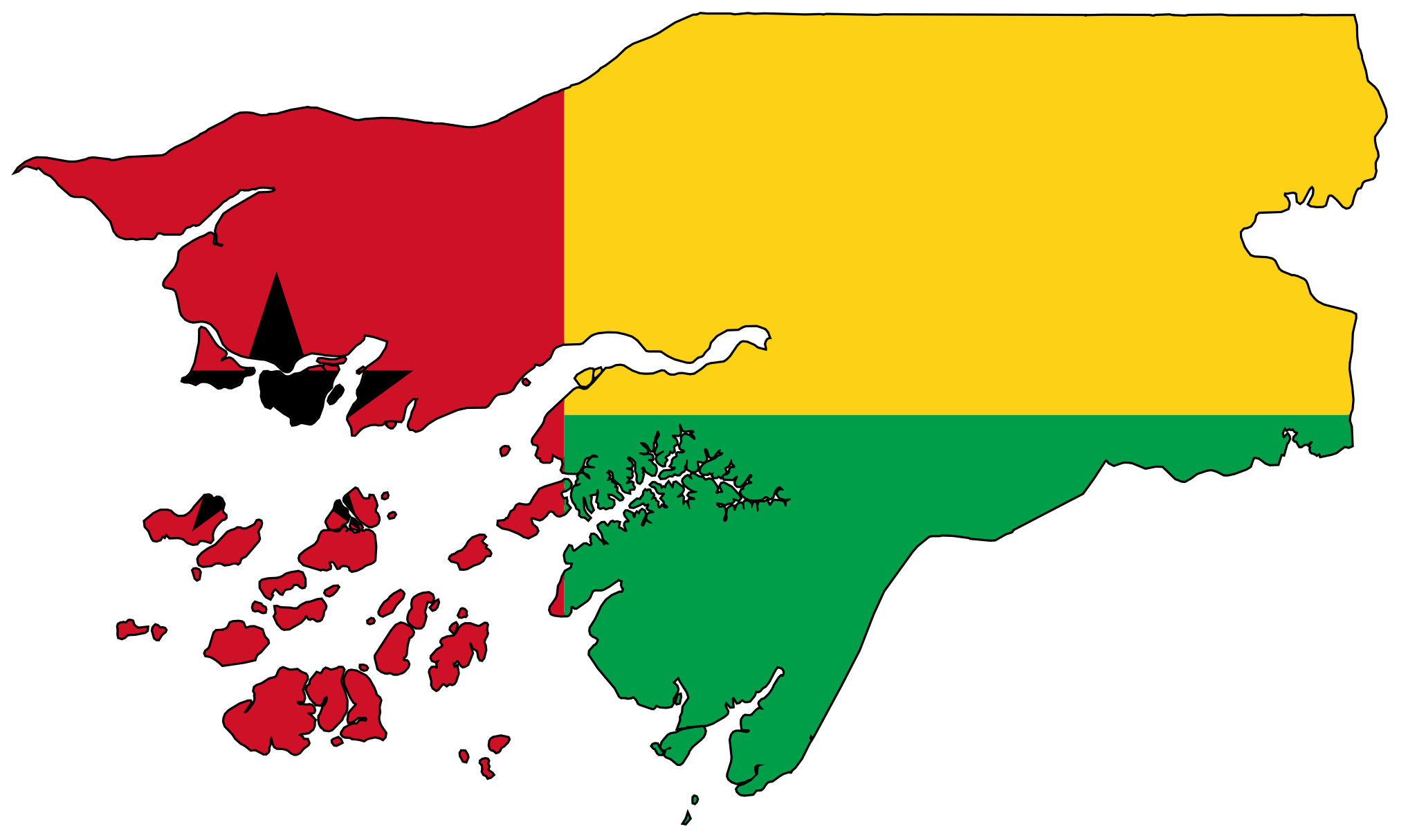 Guinea Bissau Flag Map