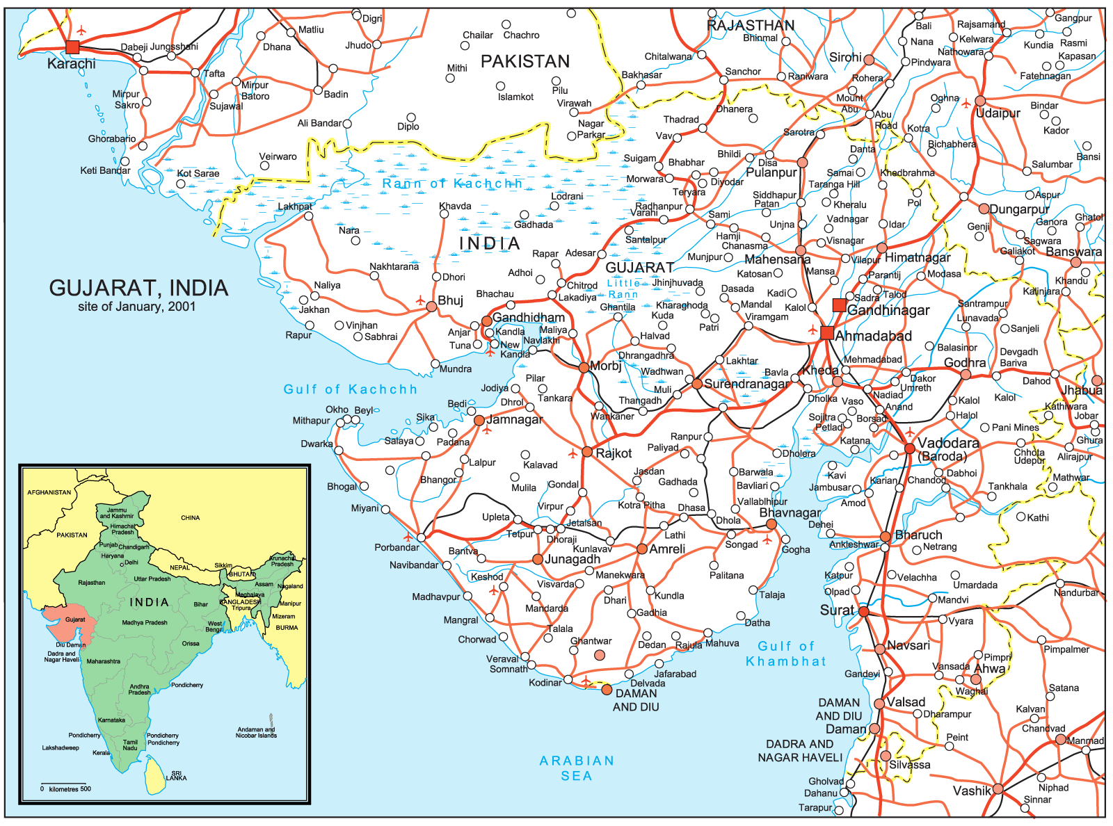 gujarat road map • mapsofnet - click on the gujarat road map