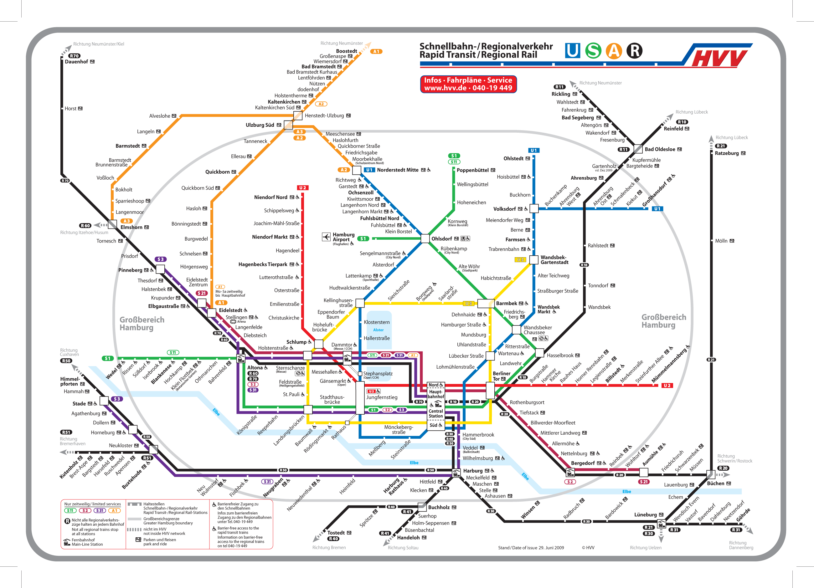 Hamburg Metro System Map