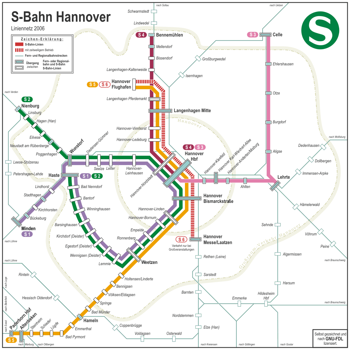 Hannover Suburban Metro Map large map
