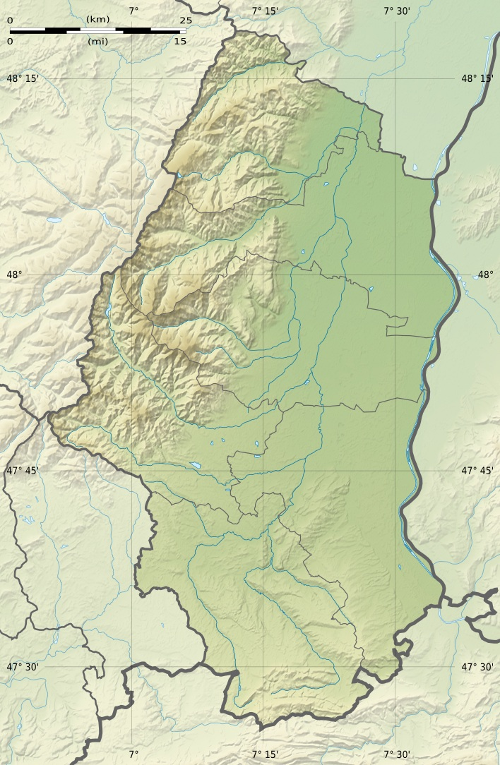 Haut Rhin Department Relief Location Map large map