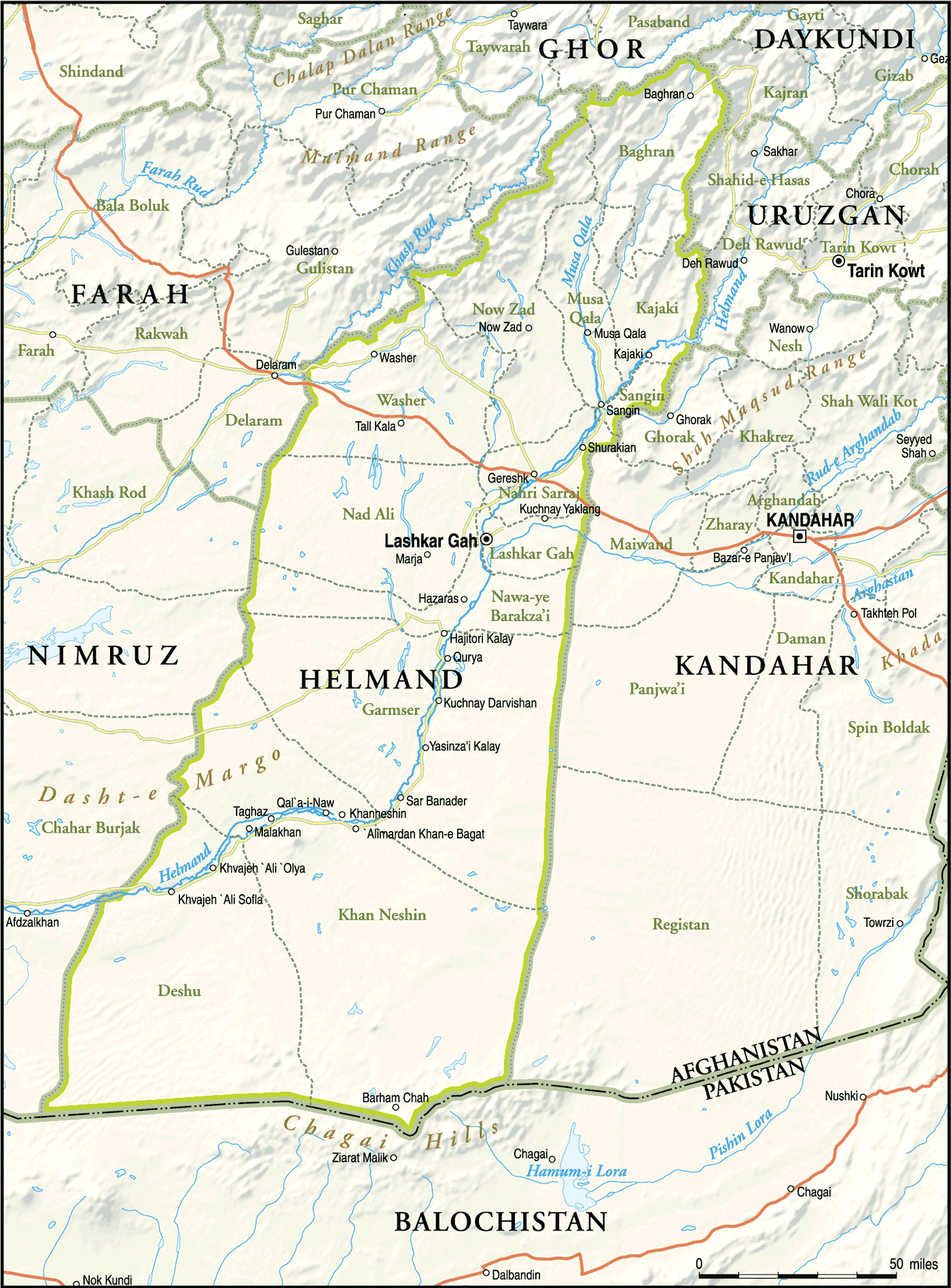 Helmand Province Afghanistan large map