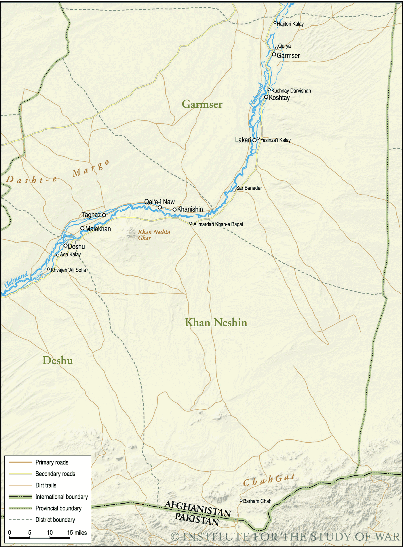 Helmand South Map large map