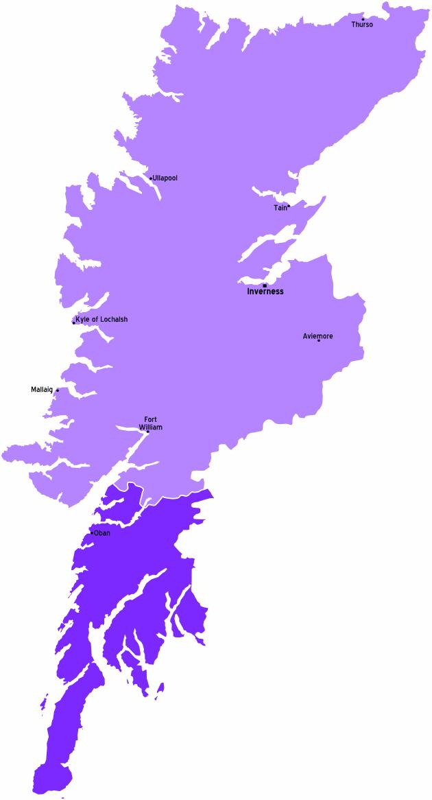Highlands Scotland Map large map