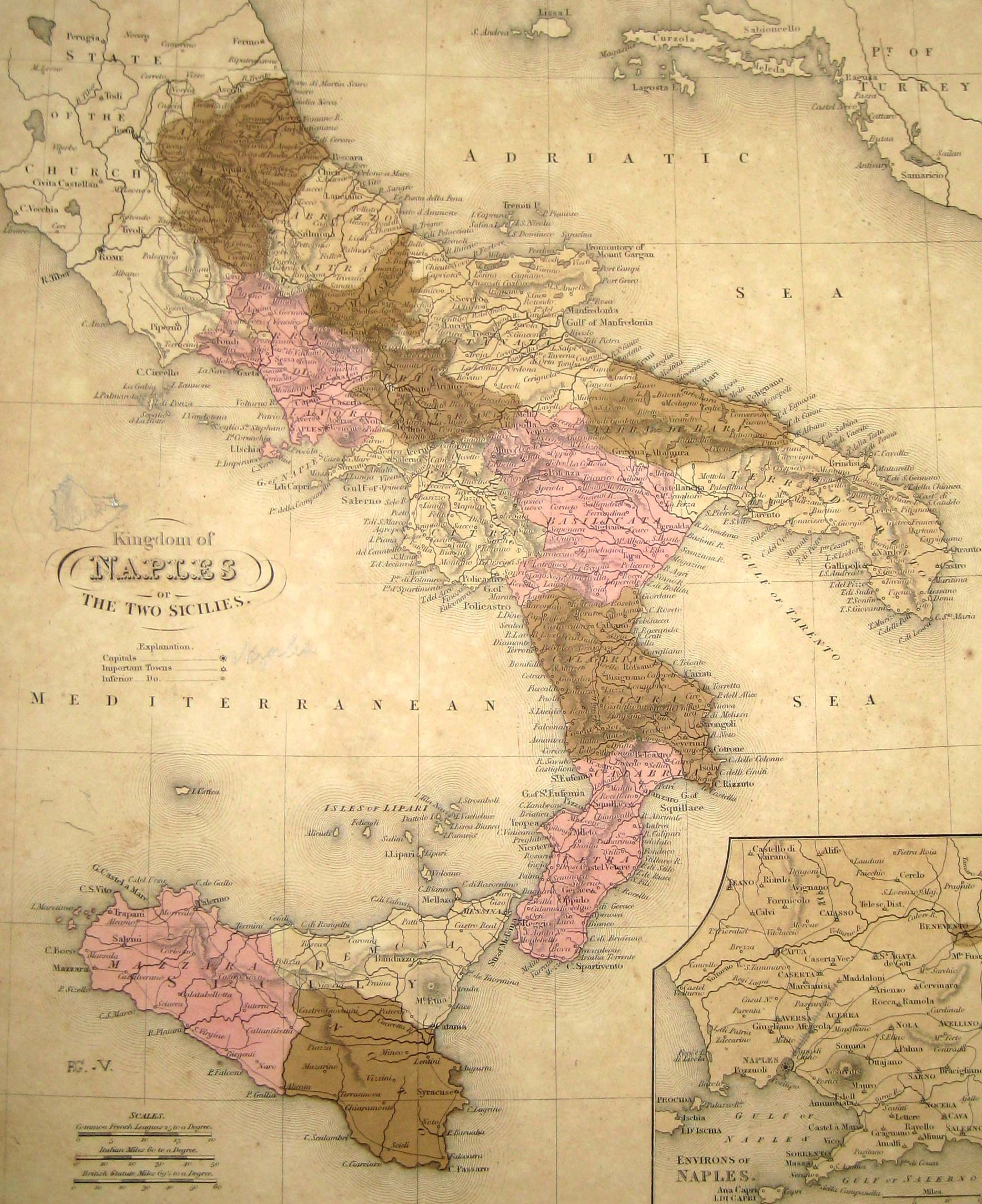 Historical Map Italy large map