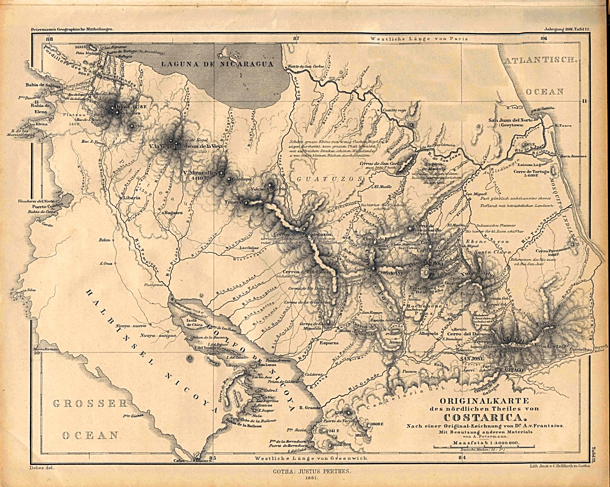 Historical Map of Costa Rica From 1861 large map